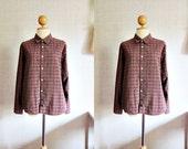 Plaid Red Vintage Shirt / Vintage Style / Small - Medium