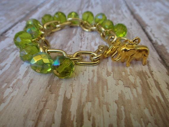 Gold Large Link-Beaded Green Glass Bracelet