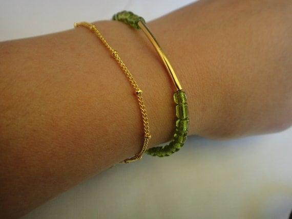 Gold Bar and Vintage Green Glass Bracelet