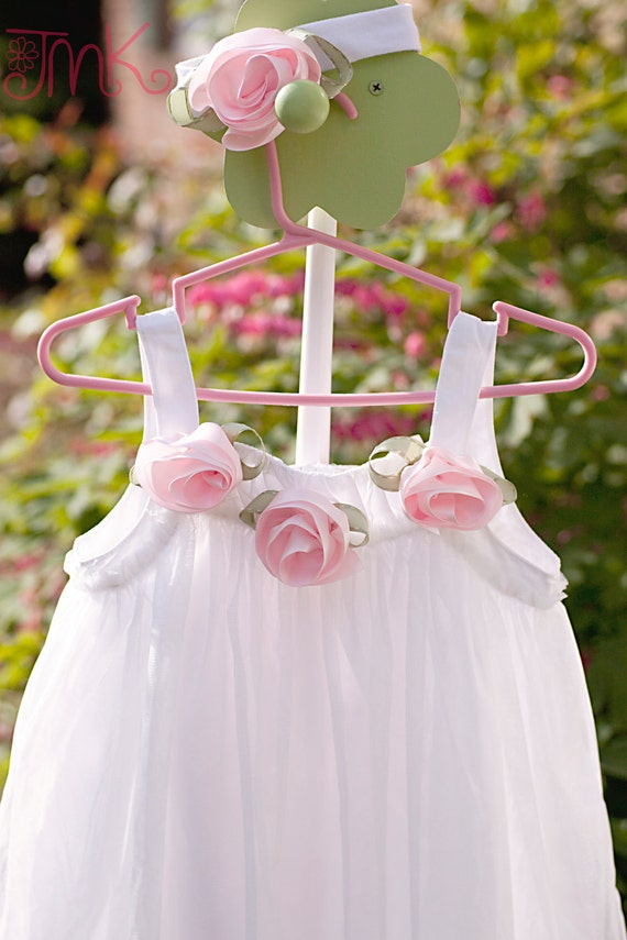 Beautiful Rose Dress, Size 4 Fancy white Sundress, Flower girl dress, with matching head band