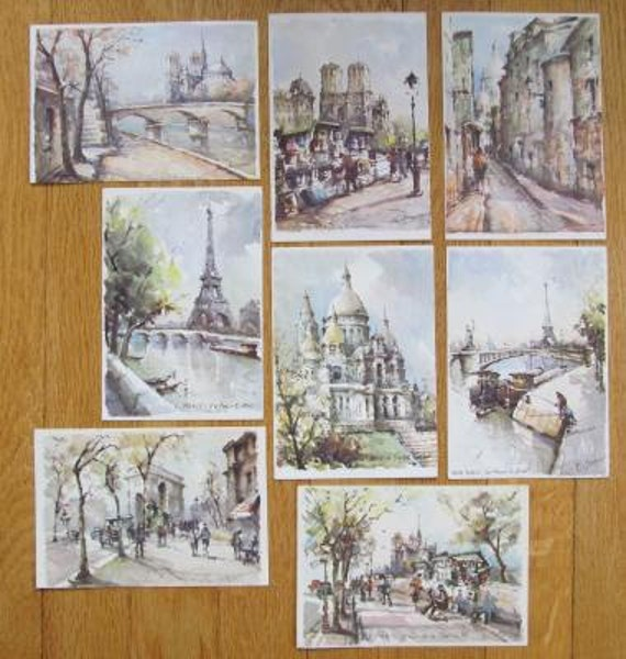 8 Vintage Paris France Illustrated Postcards