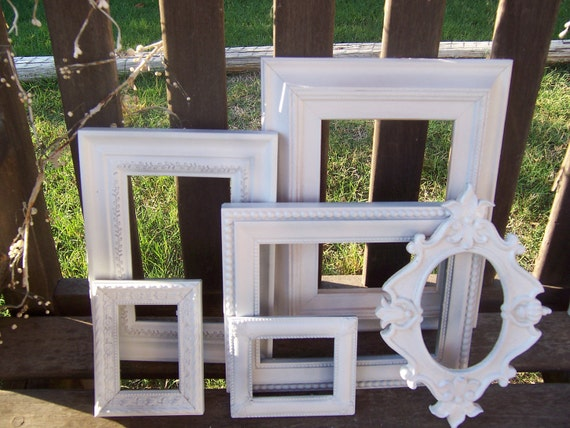 SALE Shabby Chic White Frames Lot All 6