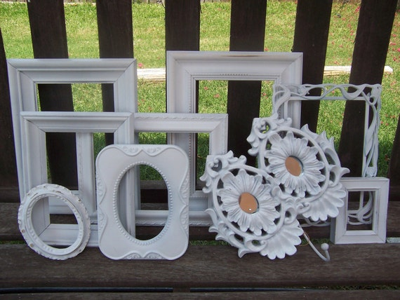 Reserved for Altana Large Lot Shabby Chic White Frames All 9