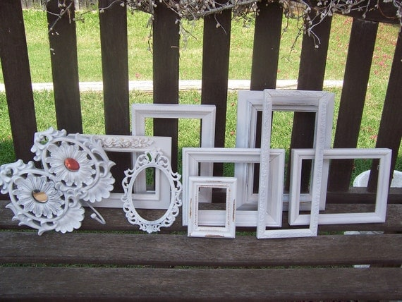 Great Sale White Distressed Shabby Frames Lot Of 9