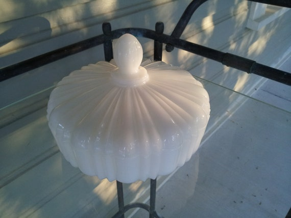Item 20: Vintage White Milk Glass Candy Dish with Lid