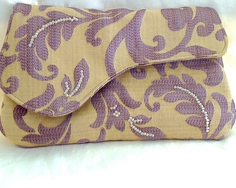 Bead-embellished Purple Damask Clutch