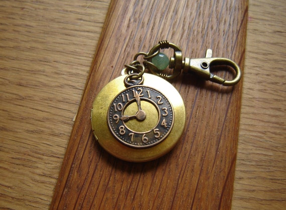 Steampunk Natural Solid Perfume Locket:  Clock Charm with Clasp