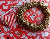 Chunky Gold Tone Chain Charm Bracelet with a Vintage Red and White Candy Stripe Heart Charm and Safty Pin Charms