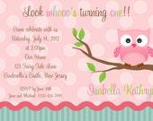 First Birthday Pink Owl Invitation - Personalized Custom Owl Birthday Invitation - Print Your Own