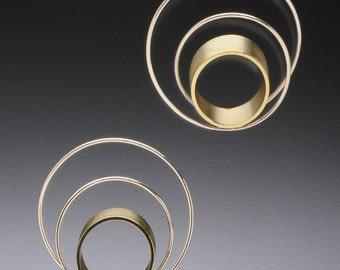 Endless Loop, Sterling Silver and Brass Earrings
