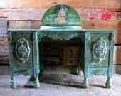 Vintage Baroque Vanity in Emerald Green and Ocean Blue.