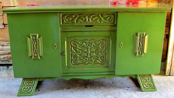 Emerald Green Vintage Cabinet