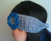 Grey heather headband with blue flower