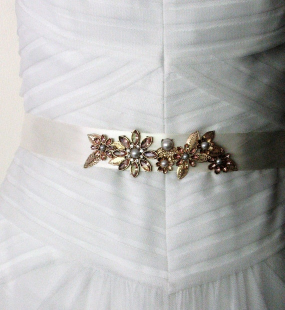 Wedding Sash - Gold Metal and Rose Glass Floral Motif on Ivory Ribbon