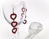 Spring Earrings crochet Claret red heart/Crochet Earrings /Romantic Spring Fashion/Red heart earrings /Mother's day gift/Choose colour