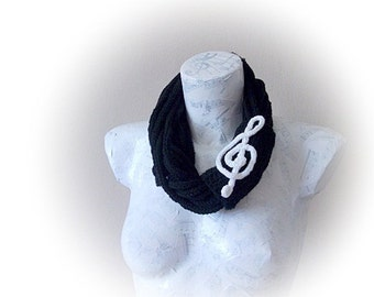 Unisex knitted  scarf in black-Handmade Knitting Scarf - Black Knitting Scarf