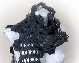 Crochet Scarf - Gray Crochet Scarf-Lady Scarf