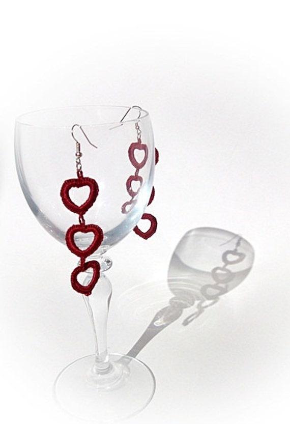 Spring Earrings crochet Claret red heart/Crochet Earrings /Romantic Spring Fashion/Red heart earrings /Mother's day gift/Choose colour