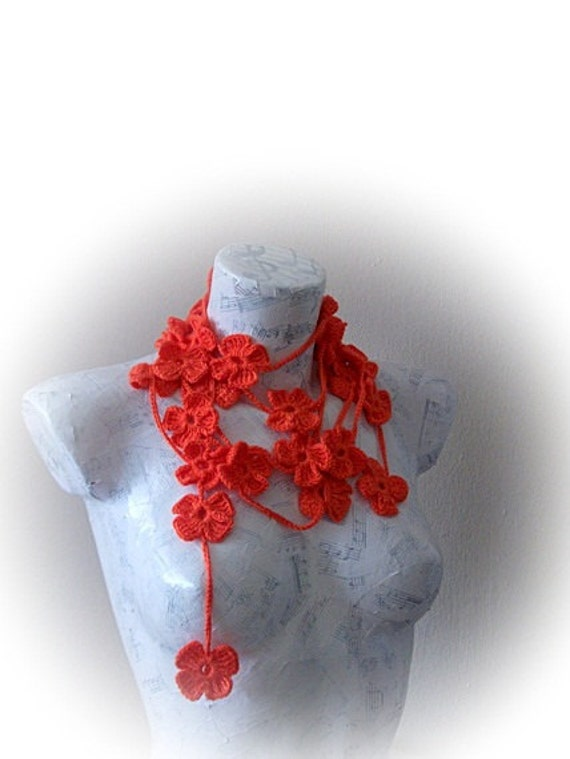 Coral Crochet Floral Lariat neck accessories-Spring Scarf - Spring Fashion - Crochet Scarf - Red Carol Crochet Scarf