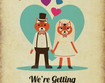 Foxes Themed Vintage Retro Style Wedding Invitation Invite