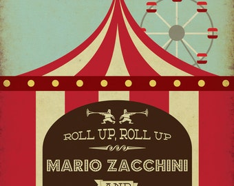 Circus Funfair Themed Vintage Retro Style Wedding Invitation invite