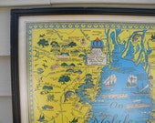 1950 Souvenir map of Mobile Bay with interesting historic tidbits