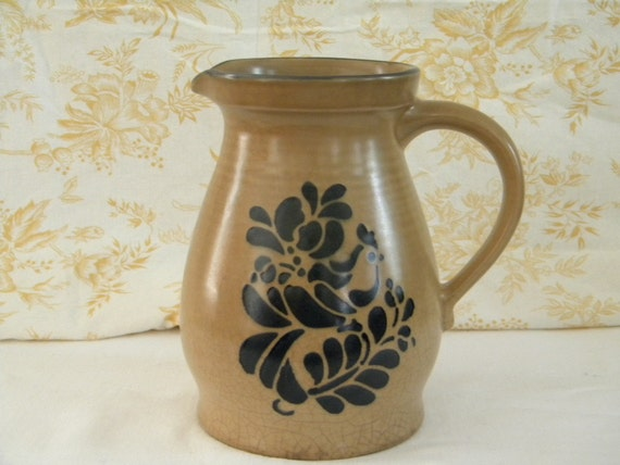 Pfaltzgraff Floral 2 1/2 QT Pitcher Tan with blue bird designed marked 416