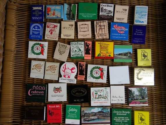 Collectible vintage matchbooks from Long Island/New York Area