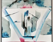 Abstract original architectural painting / construction / landscape / acrylic on canvas / red / blue