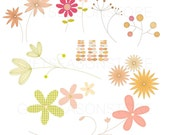 Flowers Leaf  Digital clip art for Personal and Commercial use - INSTANT DOWNLOAD