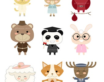 Cute Animals Set No.2 Digital clip art for Personal and Commercial use - INSTANT DOWNLOAD