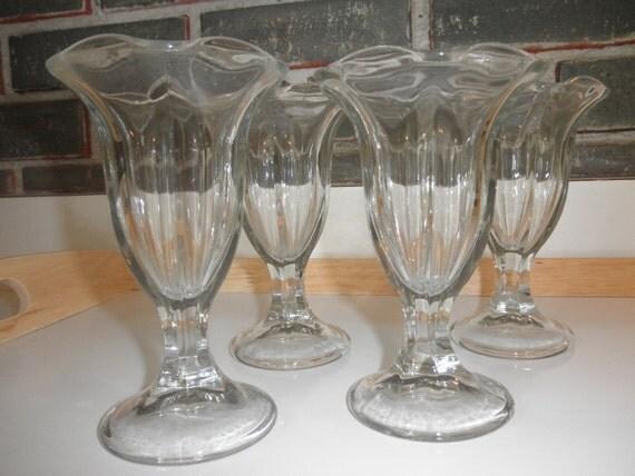 set of four vintage fluted dessert custard glasses