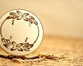 Vintage Gold Filled  White with Flower Design Locket Necklace