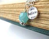 Inspirational Believe Sterling Silver Bezel Resin Necklace