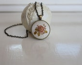 Old Rose Silk Ribbon Embroidery Pendant Necklace