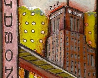 Vintage Detroit ATC: Hudson's With Flag