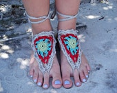 Crochet Barefoot Sandals in Gray, Red, Aqua and Green