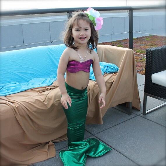 Little mermaid costume - Girls green mermaid Tail for Little Girls 5T-7,