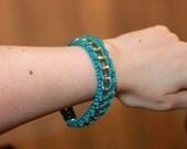 Cute Teal Crochet Bracelet