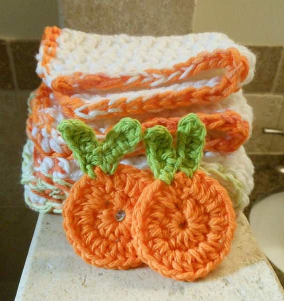 Citrus Orange  Extra Thick Eco-Friendly Crocheted Washcloths  and Facial Scrubbie Set by T.O.O.T.S.