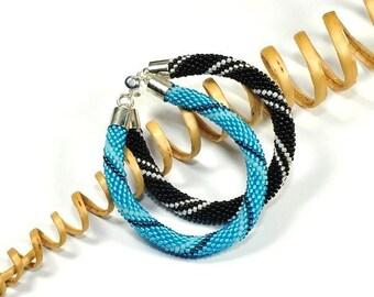 Bead Crochet Bracelet. Rope Bracelet. Oriental Bracelet. Beaded Bracelet. Toho Seed Beads Bracelet. Modern Bangle. Black and blue.