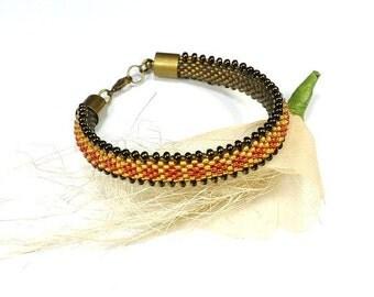 Beaded Bracelet. Bead Crochet Rope. Bead Crochet Bracelet. Rope Bracelet. Oriental Bracelet. Modern Bangle.