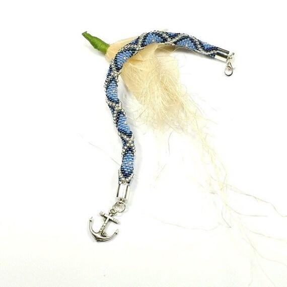 Nautical Bracelet. Beaded Bracelet. Bead Crochet Rope.Beads. Seed Beads. Toho. Blue.