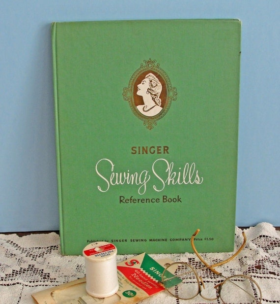 Vintage Green Singer Sewing Skills Reference Book 1955 Retro Industrial Cottage