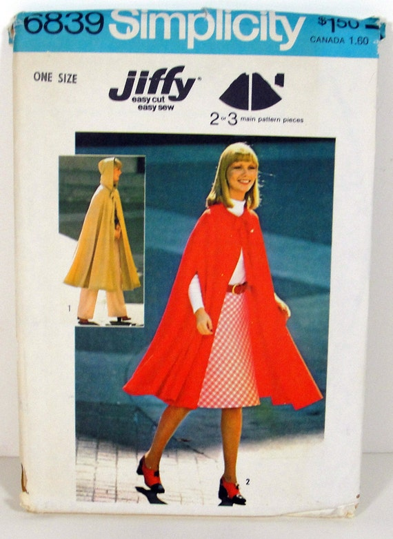 Long or Short Hooded Cape - Simplilcity 1970s Easy Sewing Pattern - Vintage Retro Bohemian Fall Fashion