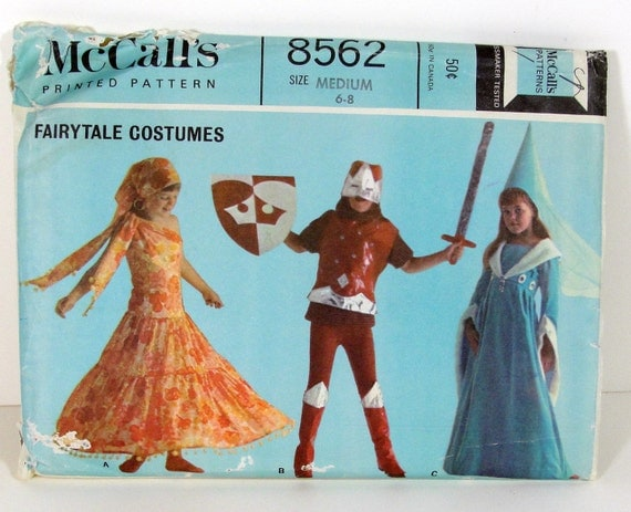 Childs Fairytale Costumes Sewing Patterns - Vintage 60s McCalls - Gypsy, Knight, Princess Halloween Costume
