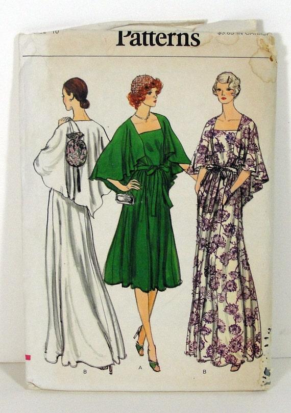 70s Hippie Maxi Cape Dress Size 10 Vogue Sewing Pattern - Vintage Bohemian Evening Fashion