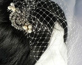 Bridal hair comb with small veil and vintage diamante button and freshwater pearls