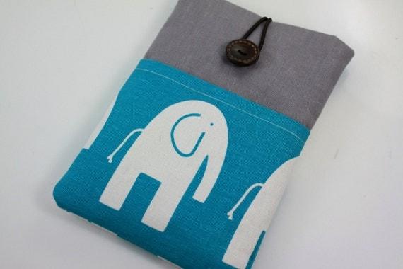 Kindle 3 Case, Kindle 4 Cover, Kindle Fire Case, Kindle Touch Case, Kindle Keyboard Cover, Nook cover, with Pocket - Turquoise Elephant