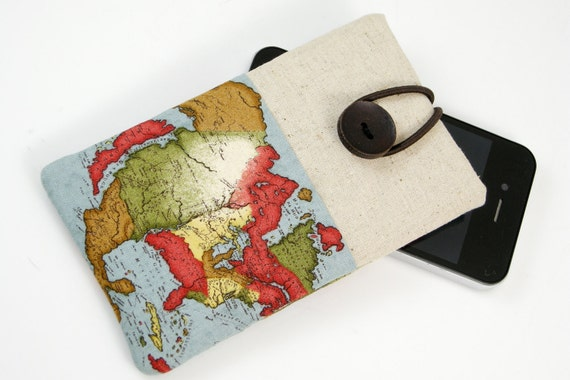 iPhone sleeve, iPhone case, iPod case, cell phone sleeve, smart phone sleeve, padded-  World Map